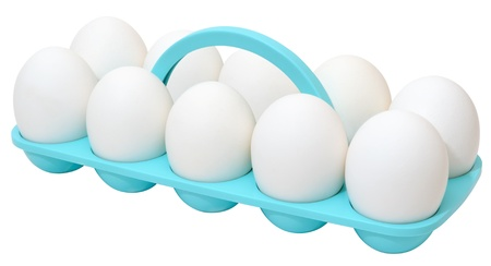 White eggs in their original plastic container with handle Stock Photo - 12065008