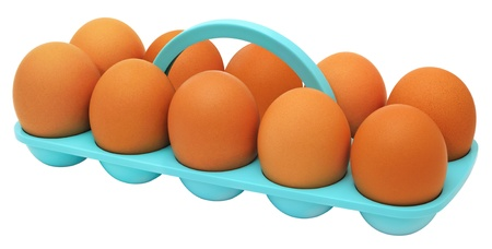 Speckled (red) chicken eggs in a plastic stand Stock Photo - 12065014
