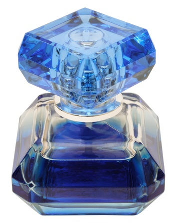 Eau de toilette in a blue bottle. Isolated on white background