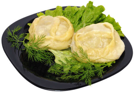 Manti - a traditional meat dish of the peoples of Central Asia. The image Kazakh manti