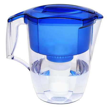 Household water filter jug in the form of a filter element for cleaning the inside of potable water Stock Photo