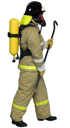 contained: Fireman in a self contained breathing apparatus with a crowbar in his hand Stock Photo