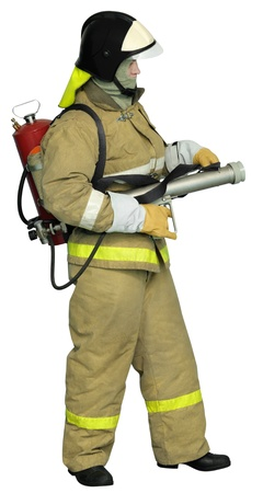 Firefighter with autonomous Impulse fire extinguishing system. Isolated on white background