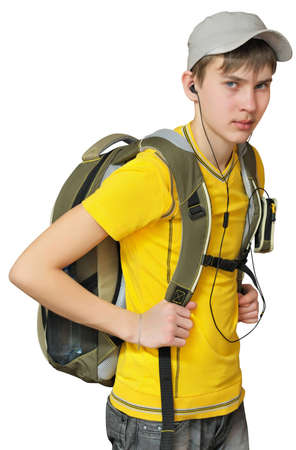 A teenager with a sporty backpack. Isolated on white background Stock Photo