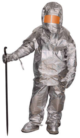 proximity: Liquidator man-made disaster in a fire proximity suit. Isolated on white Stock Photo