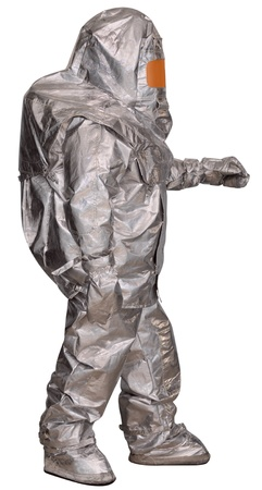 Liquidator man-made disaster in a fire proximity suit. Isolated on white Stock Photo