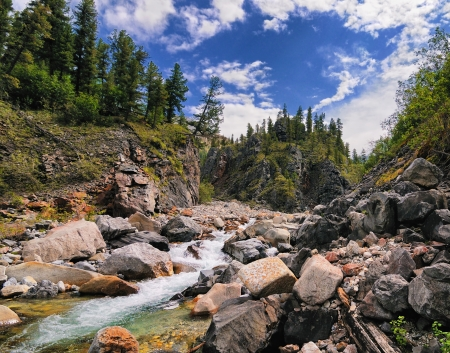 The picturesque mountain landscape with a Siberian river.Tunka range. Eastern Sayan. The Republic of Buryatia Stock Photo - 14786852