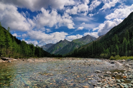Clear water of a mountain river in the flood channel. Shumak River. Eastern Sayan. Buryatia Stock Photo - 14894789