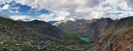 buryatia: Summer alpine landscape. Lake Nogon-Nur. Eastern Sayan. The Republic of Buryatia. Stock Photo