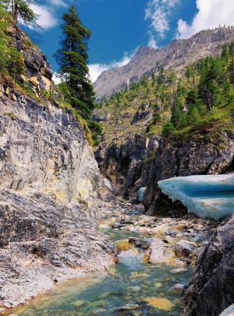 buryatia: Narrow canyon of a mountain stream in the summer. Eastern Sayan. Buryatia