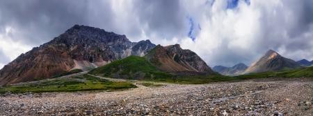 Fluvial deposit of stones in the mountain peaks. The Rocky peak. Tunka ridge. Eastern Sayan. River Echo-Her
