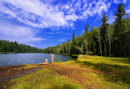 Wild beach on the shore of forest lake  Name Lake - Warm  Irkutsk region  Eastern Siberia