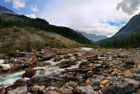 buryatia: Small mountain river in Siberia. Eastern Sayan. Republic of Buryatia Stock Photo