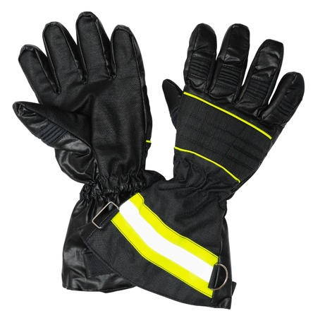 Protective gloves for firefighters. Inside and outside of gloves . Isolated on white background Stock Photo