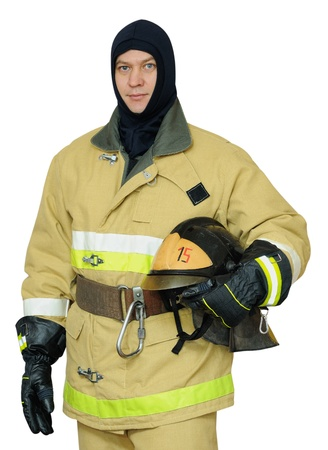 Firefighter in Balaclava helmet holds in his hand. Isolated on white background