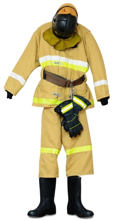 Bunker gear - protective outerwear fireman on white background Stock Photo