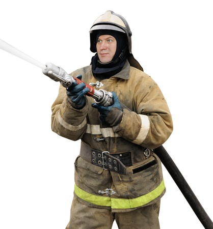Firefighter working with fog nozzle. Isolated on white background