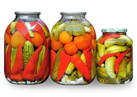 Homemade pickled vegetables. Assorted in  glass jars