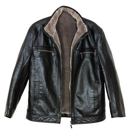 Mens leather jacket with fur sheepskin on white background