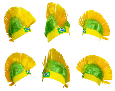 headgear: Template - Headgear fan Brazil national football team at the World Championships Stock Photo
