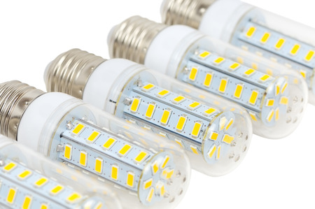 Multiple LED bulbs corn lying side by side on a white background
