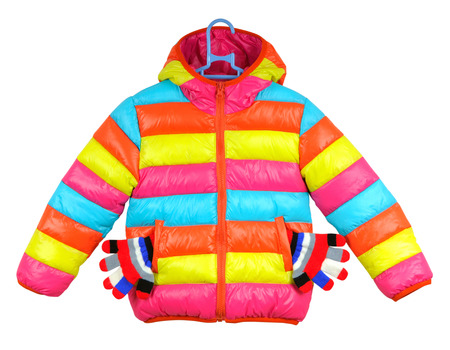 Bright striped baby jacket with gloves on a white background Stock Photo