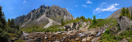 buryatia: Small mountain river in Siberia. Barun-Handagay. Sayan mountains. Republic of Buryatia Stock Photo