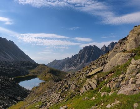buryatia: Mountain tundra in Siberia. Sayan mountains. Republic of Buryatia. Gorge Barun-Handagay Stock Photo
