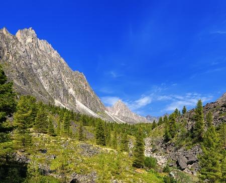 buryatia: Sunny day in a Siberian mountain valley. Barun-Handagay. Sayan mountains. Buryatia Stock Photo