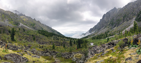 Panorama of a mountain valley river Zun-Handagay. Sayan mountains. Republic of Buryatia