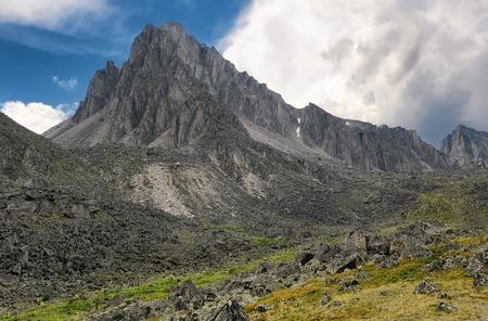 tunka range: Landscape with a mountain peak. Peak Barun. Tunka range. Eastern Sayan. Republic of Buryatia