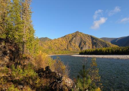 oka: Siberian autumn landscape. Oka River. Eastern Siberia