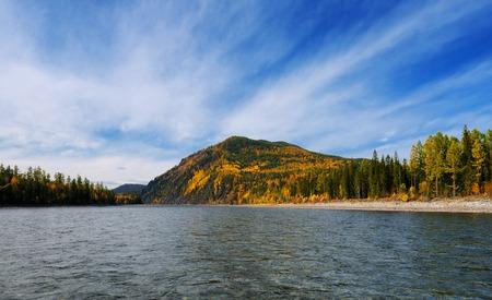 oka: Siberian autumn landscape on the river. Oka River. Eastern Siberia