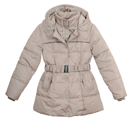 Womens lightweight down jacket on a white background