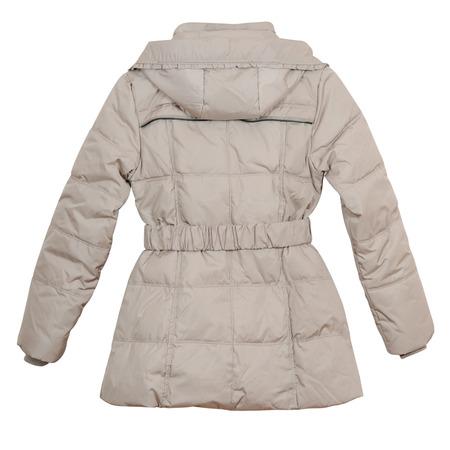 Frauen leichte Daunenjacke auf weißem Hintergrund (Rückansicht)