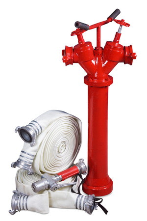 synthetic fiber: Fire equipment - fire hydrant, fire hoses and fog nozzle on a white background