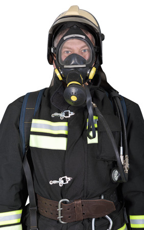 turnout gear: Portrait of a firefighter in breathing apparatus on a white background Stock Photo