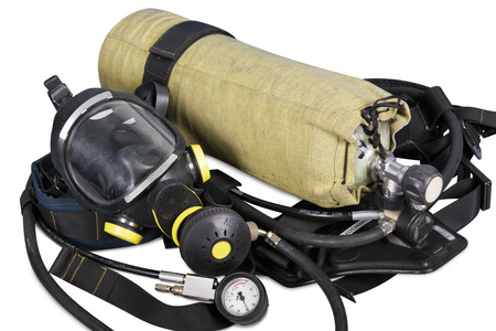 Self contained breathing apparatus on a white background Stockfoto