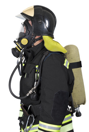 contained: Firefighter in self contained breathing apparatus on a white background