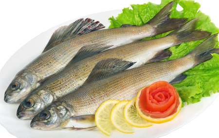 grayling: Salted fish - grayling on a platter with lemon, lettuce and tomato from a rose Stock Photo