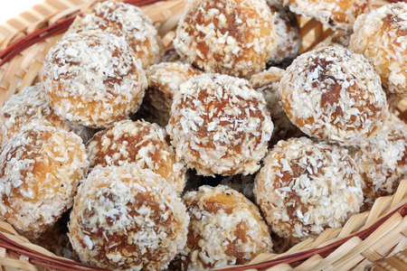 Small Russian cakes covered with coconut particles
