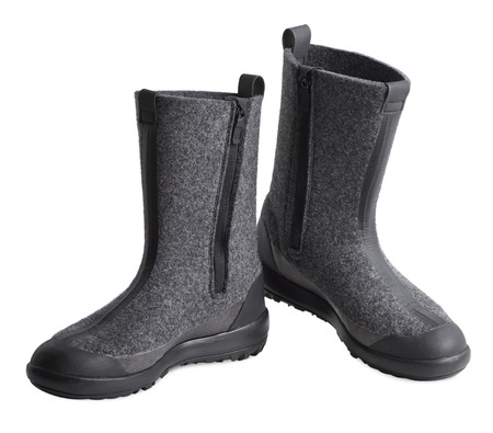 New women felt boots on a white background