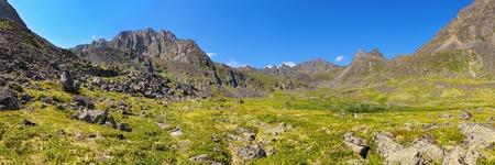 alpine tundra: Mountain - Dinosaur. Panorama of summer alpine tundra. Geotag