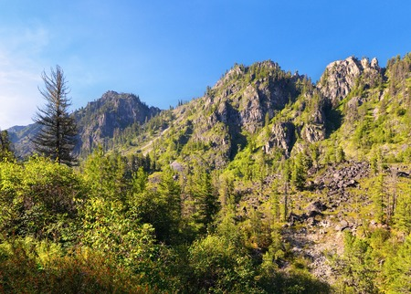 tunka range: Mountain forest landscape. Eastern Sayan. The Republic of Buryatia