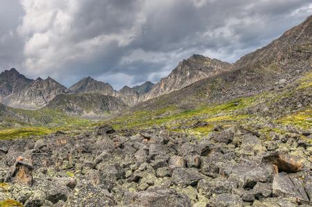 tunka range: Fragments of rock in the mountain tundra. Eastern Sayan. Buryatia Stock Photo