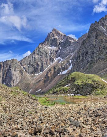 tunka range: Strelnikov Peak 3284 m - the highest peak of the Siberian Alps. Sayan mountains. The Republic of Buryatia Stock Photo