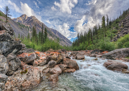 tunka range: Mountain River in East Siberia. Tunka Alps. The Republic Of Buryatia