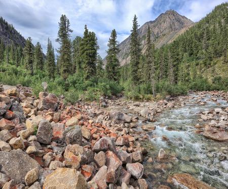 tunka range: Large stones at the fast mountain river. Bilyuty River. Tunka range. Buryatia