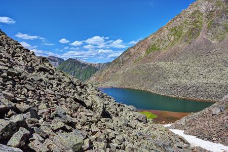 tunka range: Lateral moraines and small ribbon lake. Eastern Sayan.The Republic of Buryatia