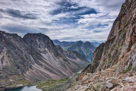tunka range: The path along the high cliffs in the mountains of Eastern Siberia. Tunka Alps. Russia